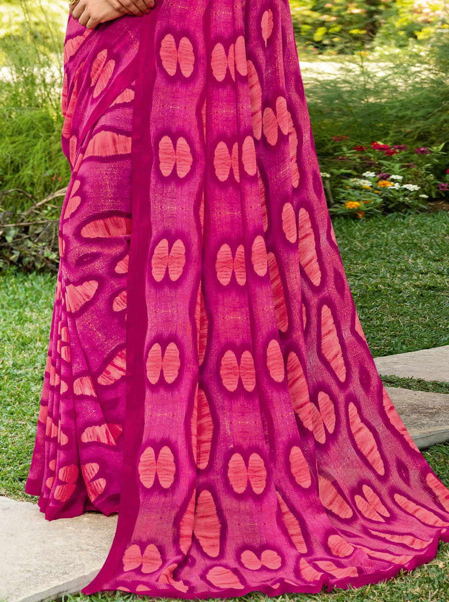 Magenta Pink Faux Georgette Printed Casual Saree