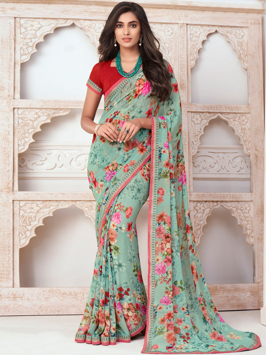 Celadon Green Faux Georgette Printed Casual Saree