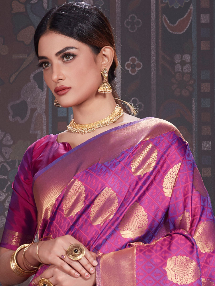 Purple Silk Handwoven Festival Saree