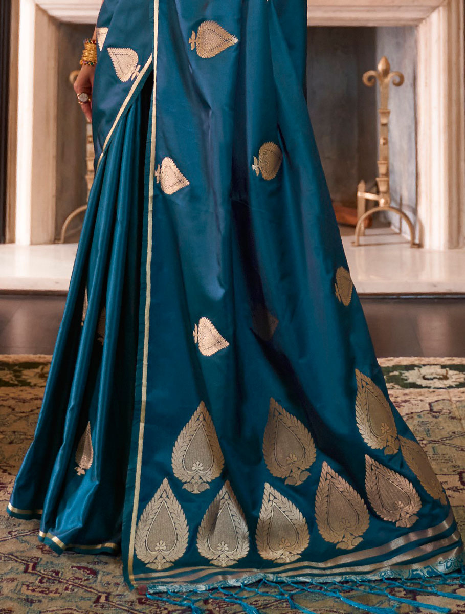 Yale Blue Satin Silk Handwoven Festival Saree