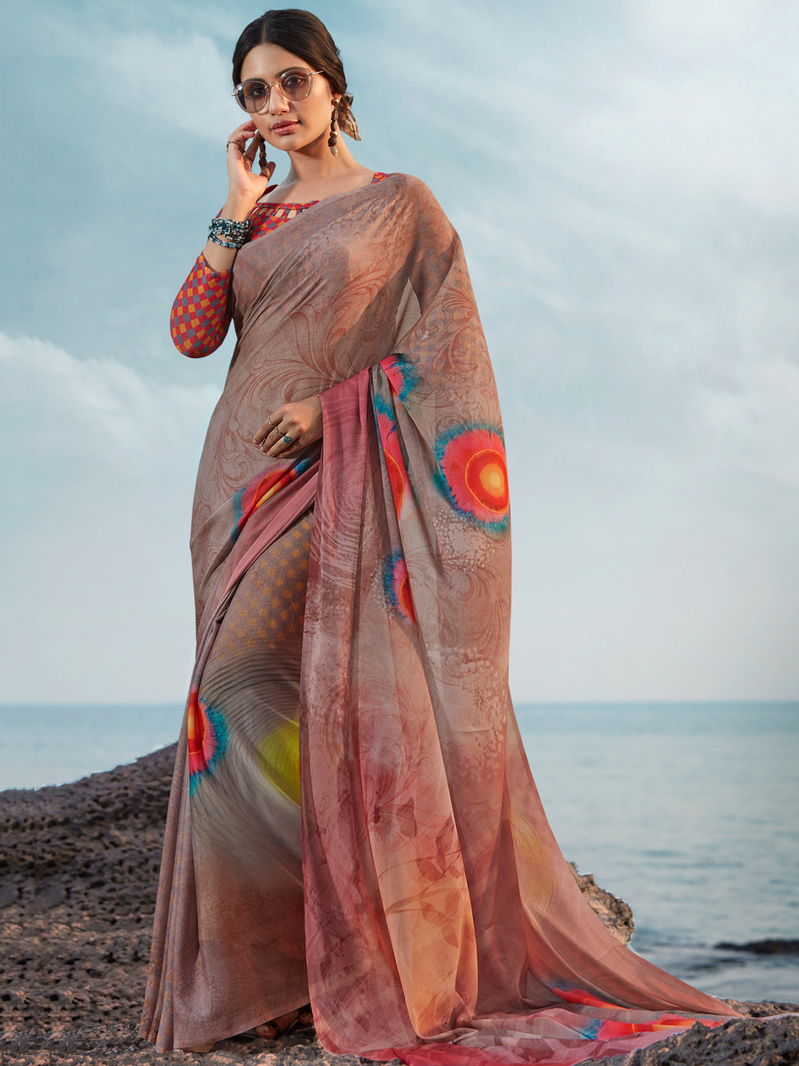 Tan Brown Satin Silk Printed Casual Saree