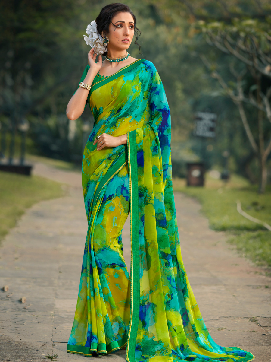 Parrot Green and Jade Green Faux Georgette Printed Casual Saree