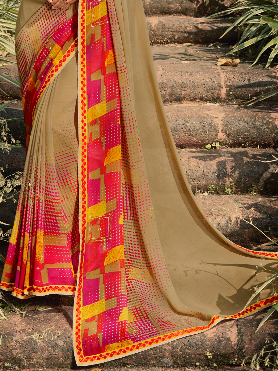 Tan Brown Faux Georgette Printed Casual Saree