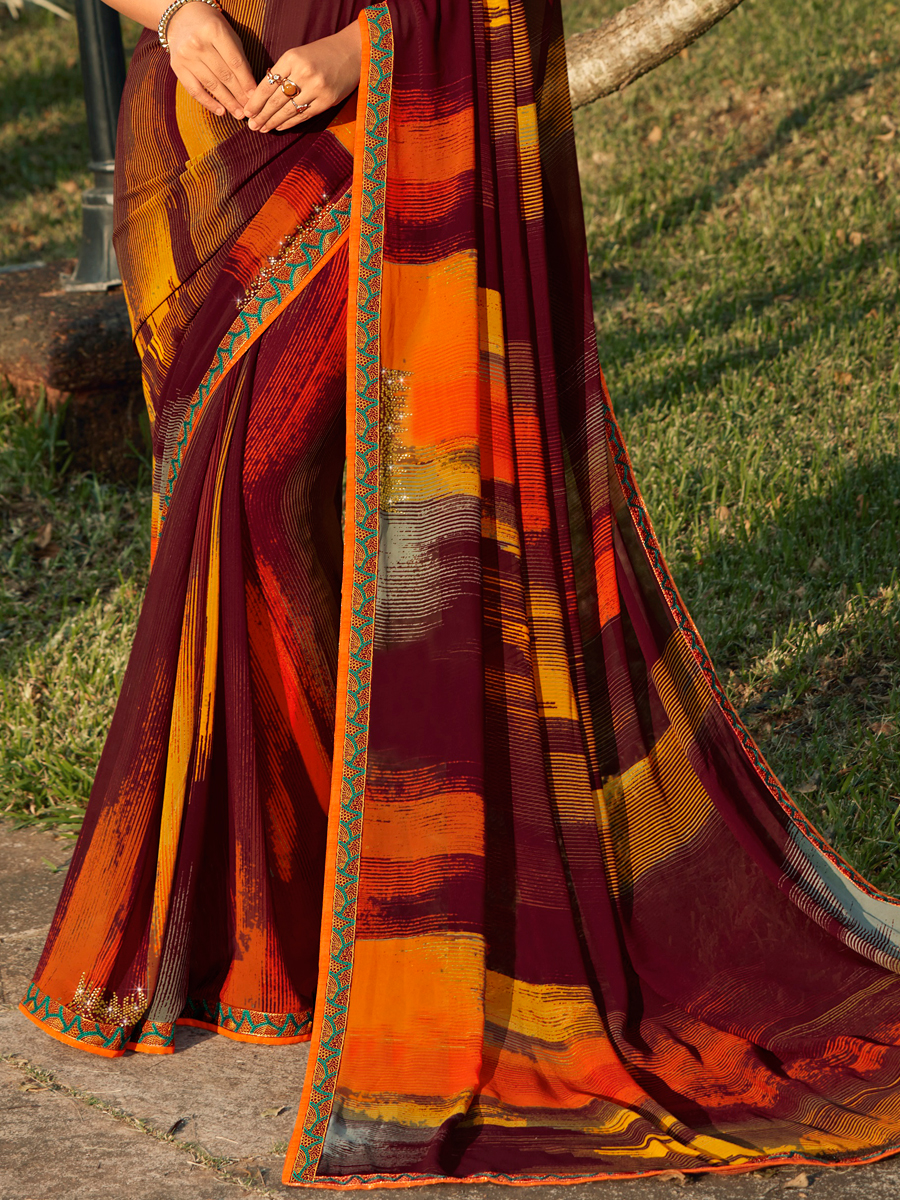 Maroon and Pumpkin Orange Faux Georgette Printed Casual Saree