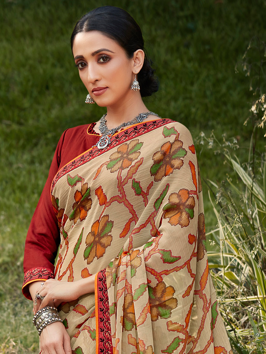 Off-White Brasso Printed Party Saree