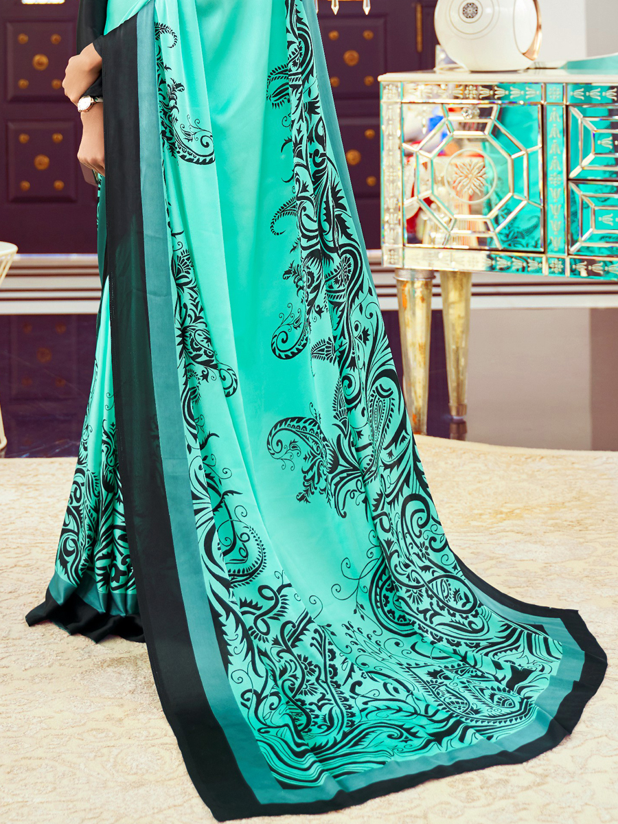 Turquoise Blue Crepe Printed Casual Saree