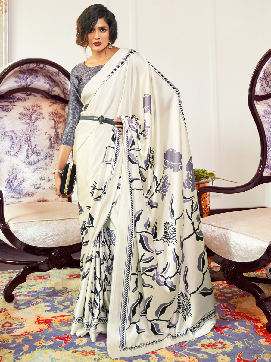 Off-White Crepe Printed Casual Saree