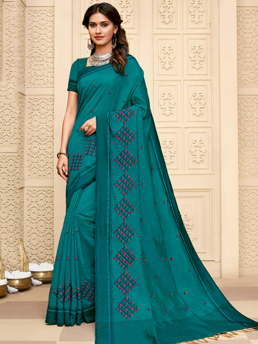 Pine Green Tussar Silk Embroidered Party Saree
