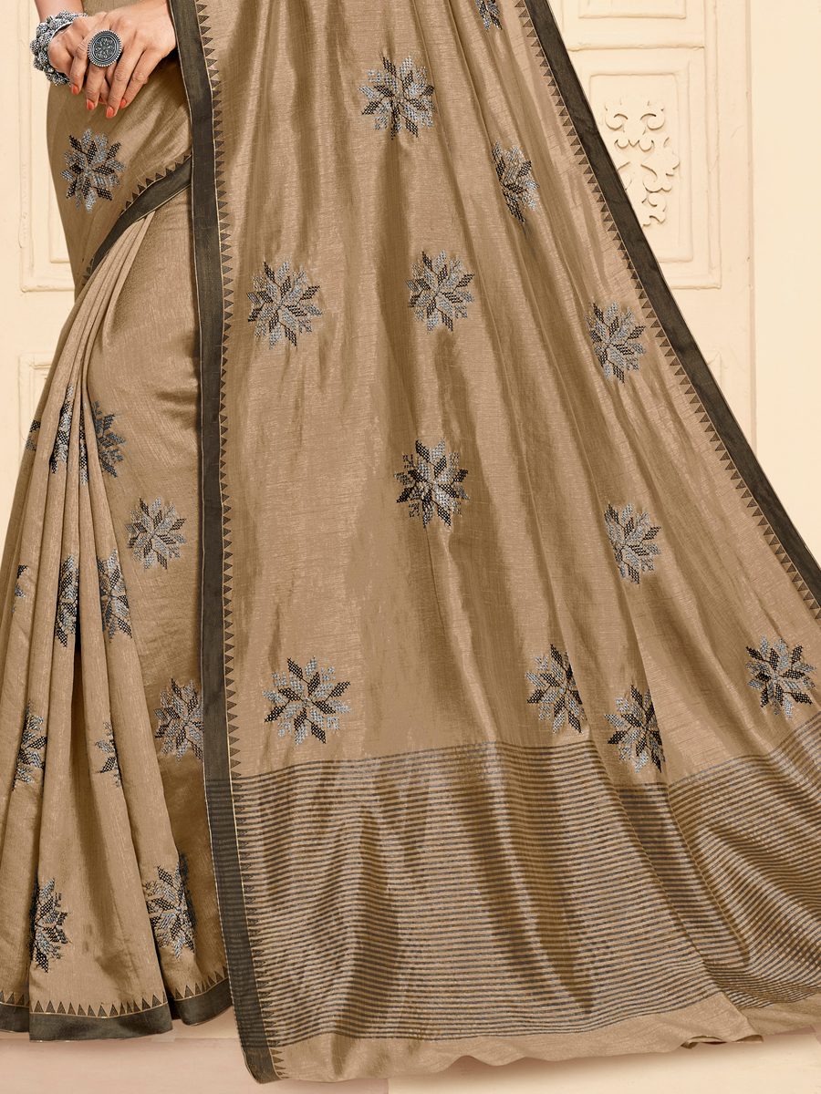 Tan Brown Tussar Silk Embroidered Party Saree