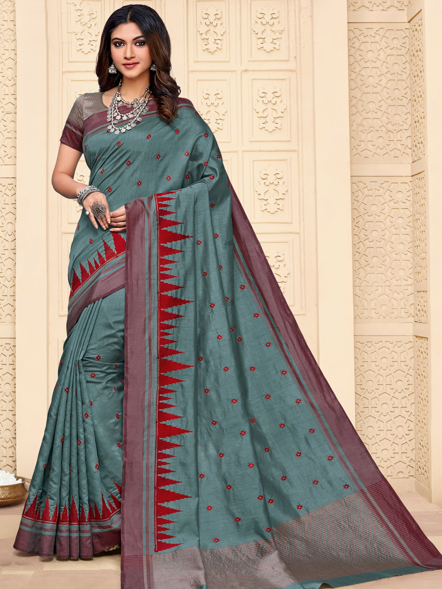Viridian Green Tussar Silk Embroidered Party Saree