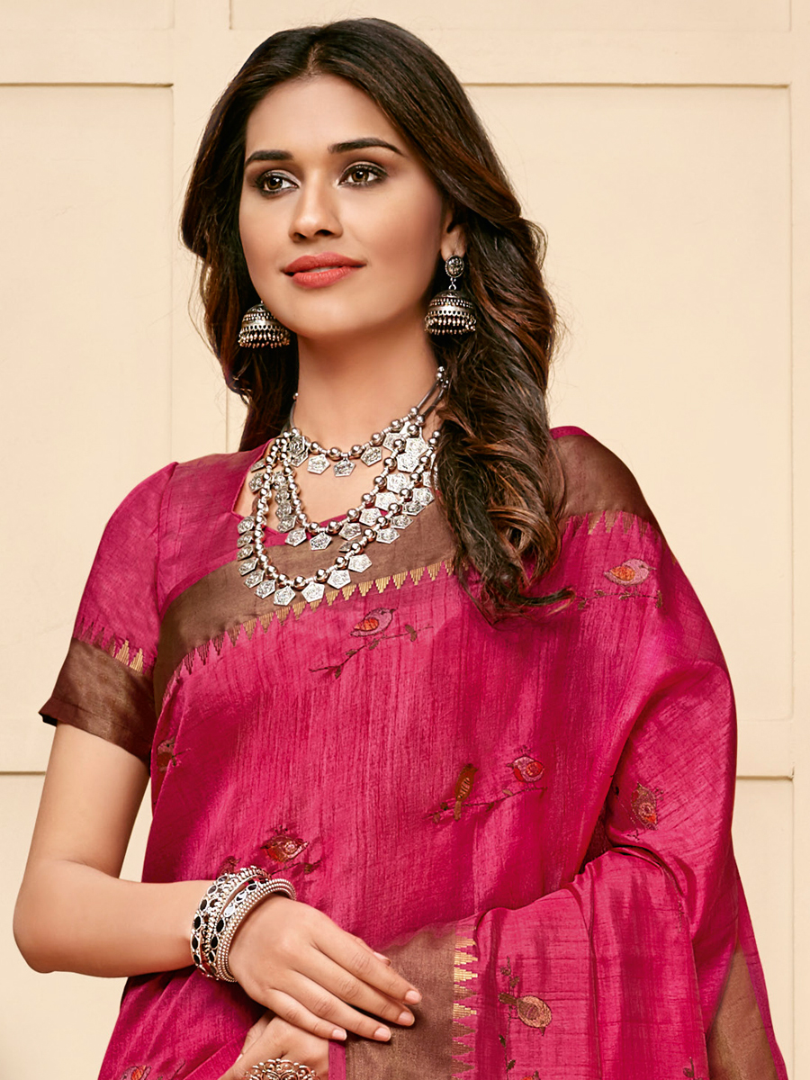 Cerise Pink Tussar Silk Embroidered Party Saree