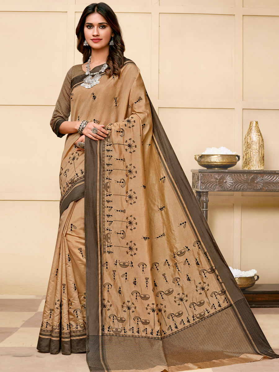 Beige Yellow Tussar Silk Embroidered Party Saree