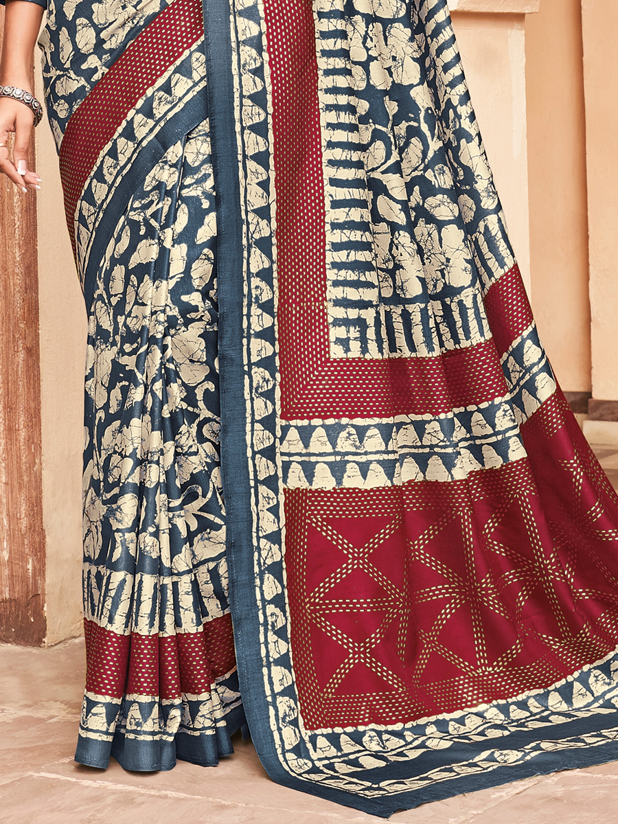 Off-White and Yale Blue Silk Printed Party Saree