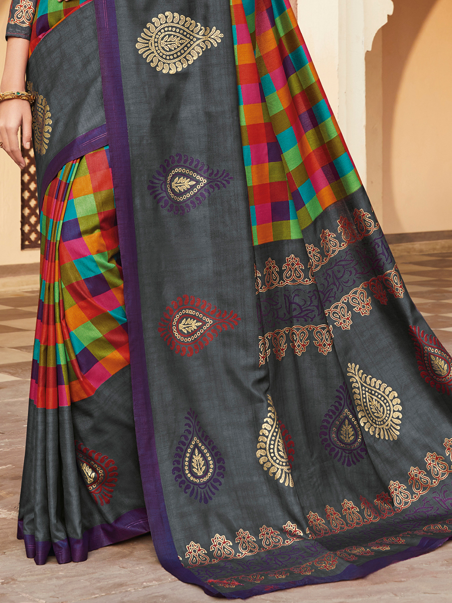 Dark Gray and Venetian Red Silk Printed Party Saree