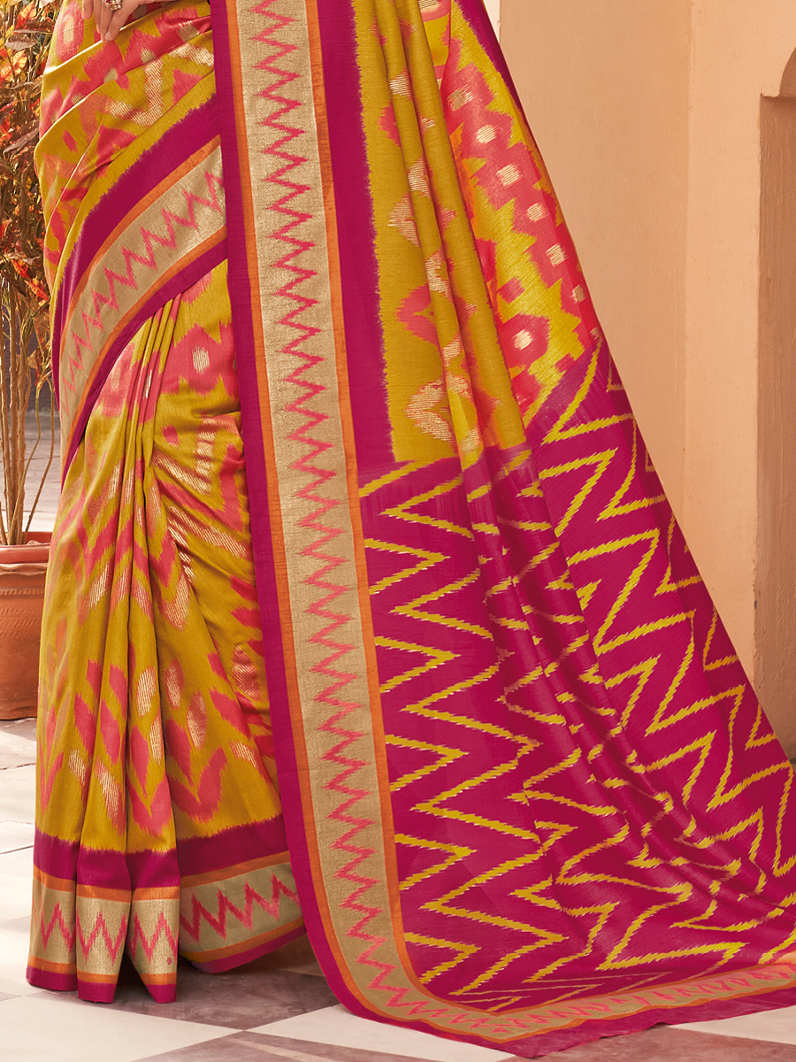 Mustard Yellow and Venetian Red Silk Printed Party Saree