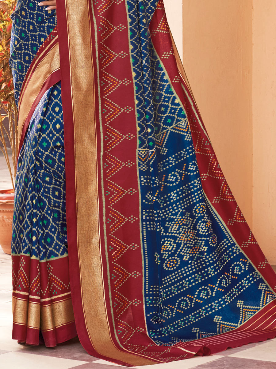 Navy Blue Silk Printed Party Saree