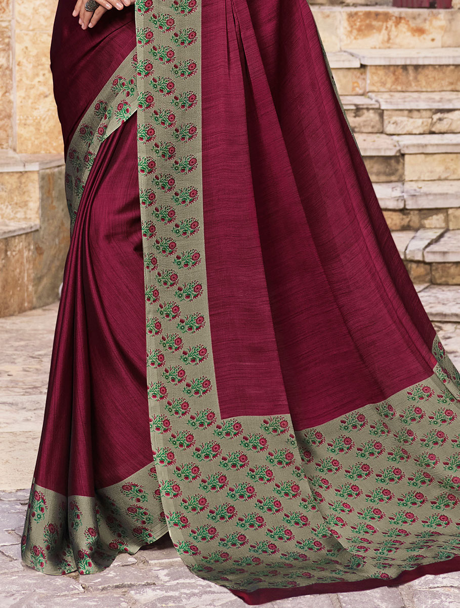 Wine Red Chiffon Printed Party Saree