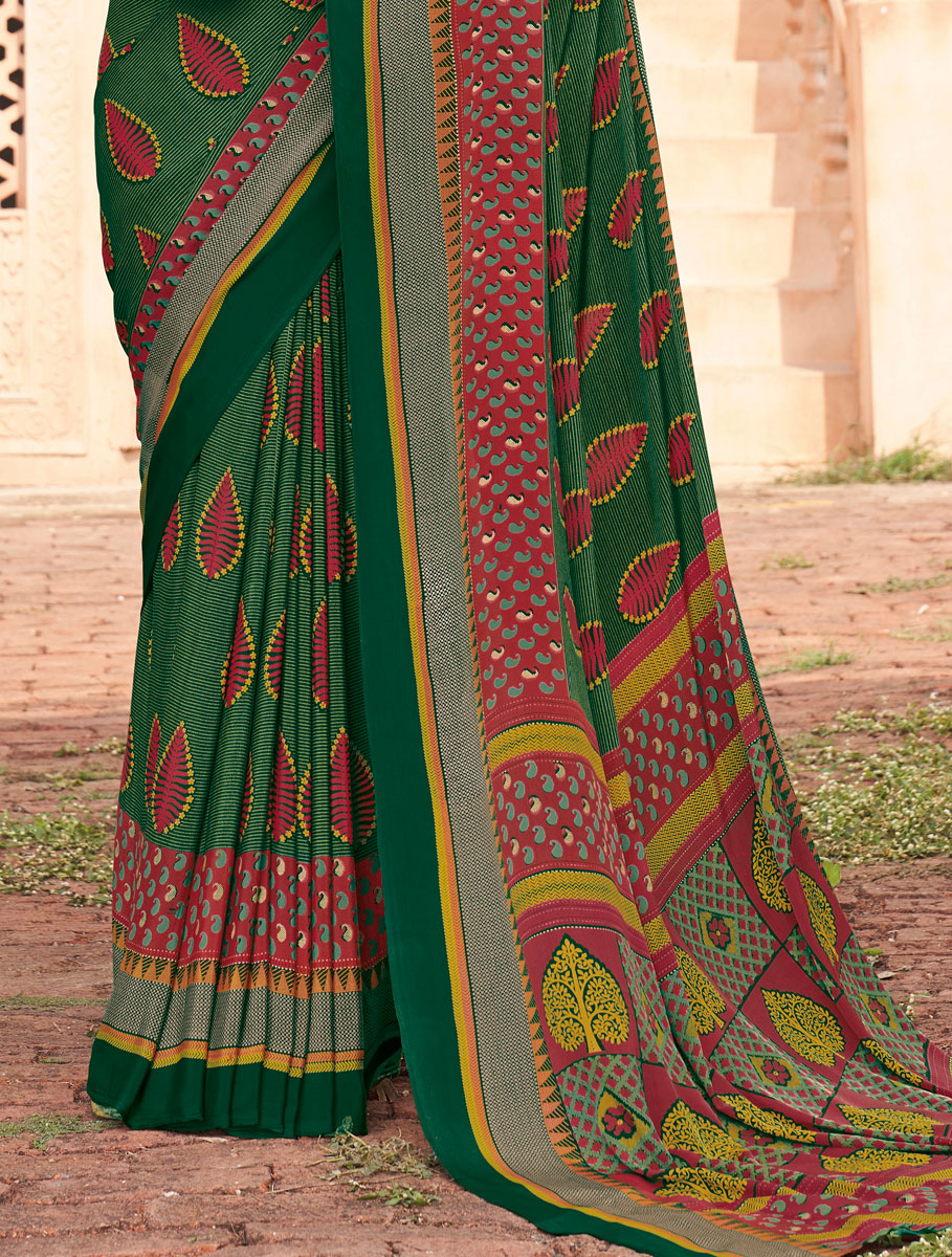 Hunter Green Crepe Printed Casual Saree