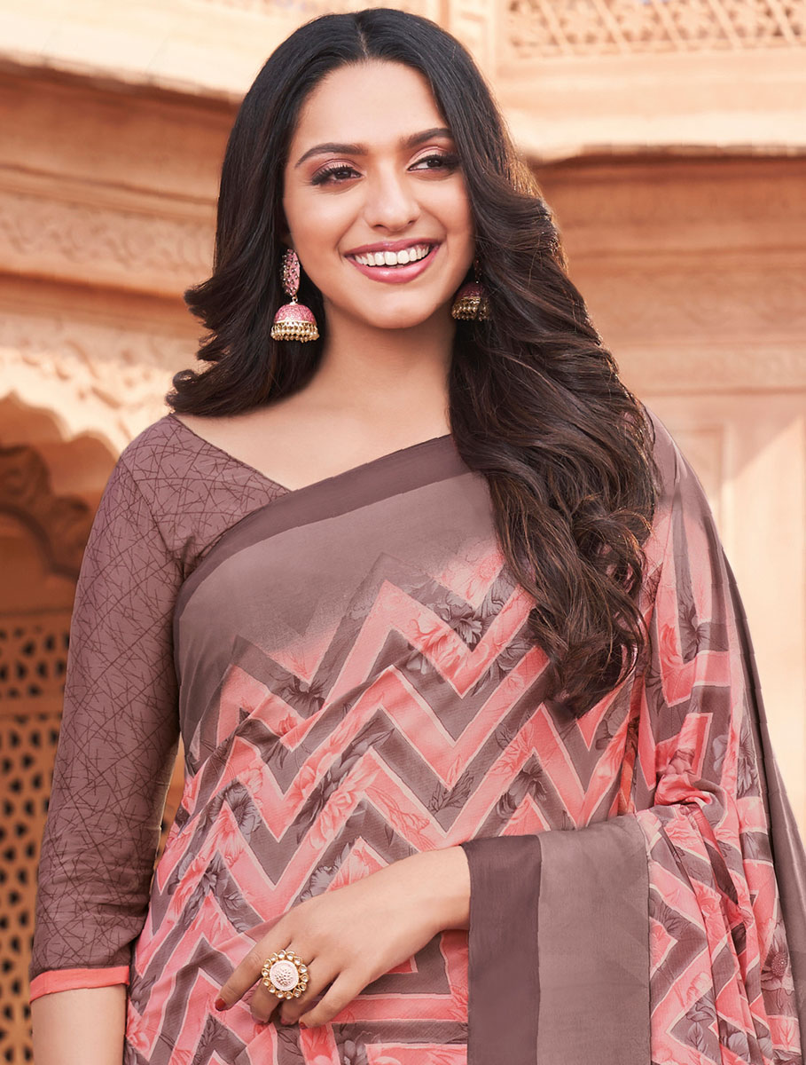 Coral Pink and Light Brown Crepe Printed Casual Saree