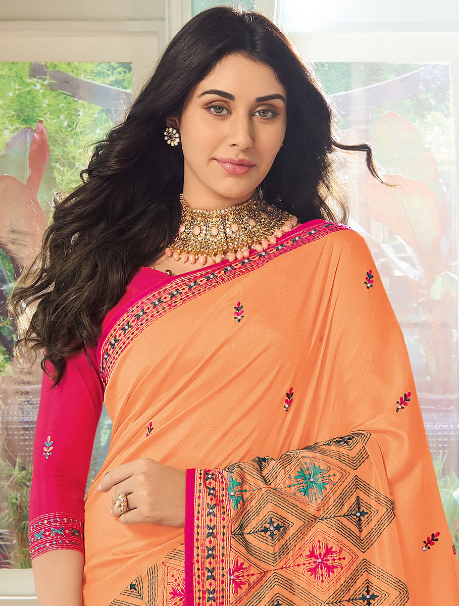 Coral Orange Silk Embroidered Party Saree