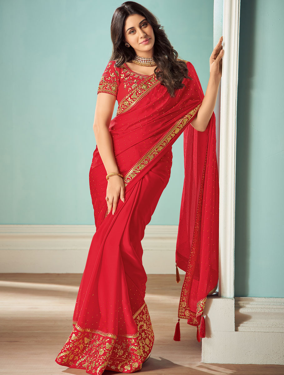 Rose Madder Red Satin Silk Embroidered Party Saree