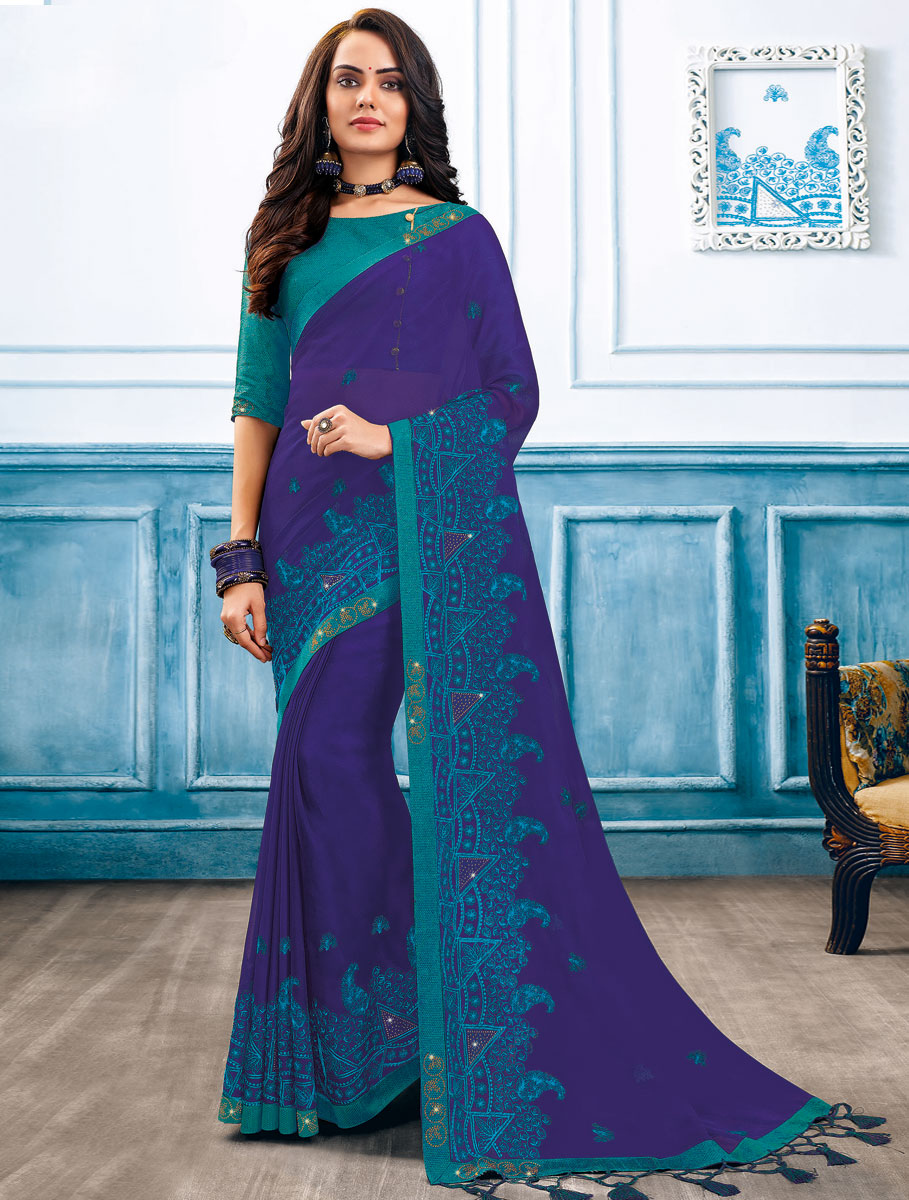 Navy Blue Chiffon Embroidered Party Saree