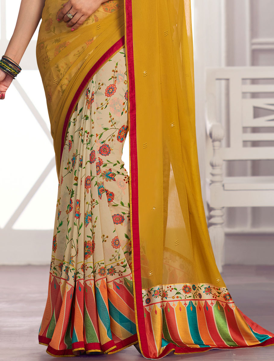 Mustard Yellow and Beige Yellow Faux Georgette Printed Party Saree