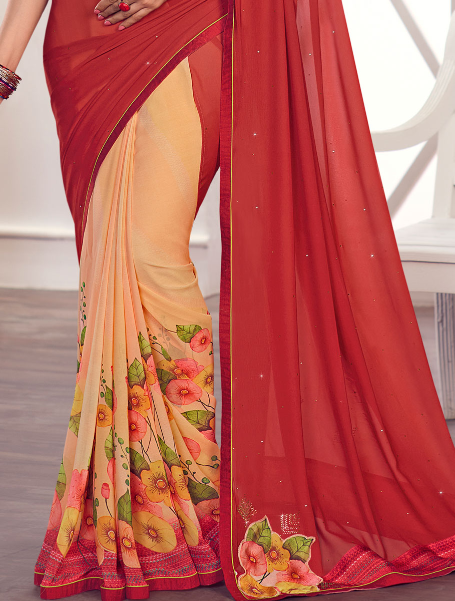 Maroon and Peach-Orange Faux Georgette Printed Party Saree