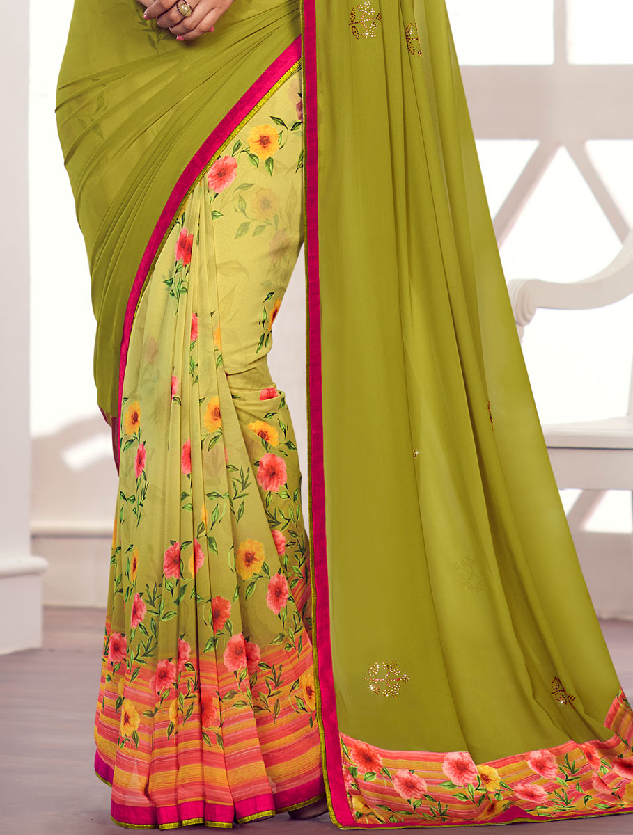 Olive Drab Green Faux Georgette Printed Party Saree
