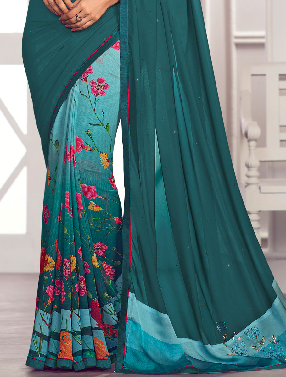 Teal Green and Sea Green Faux Georgette Printed Party Saree