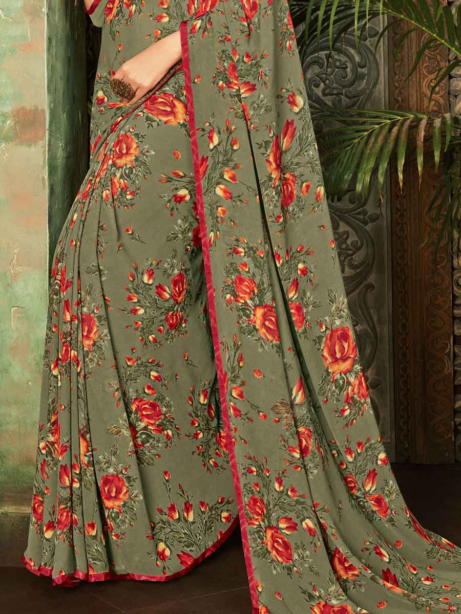 Camouflage Green Faux Georgette Printed Casual Saree