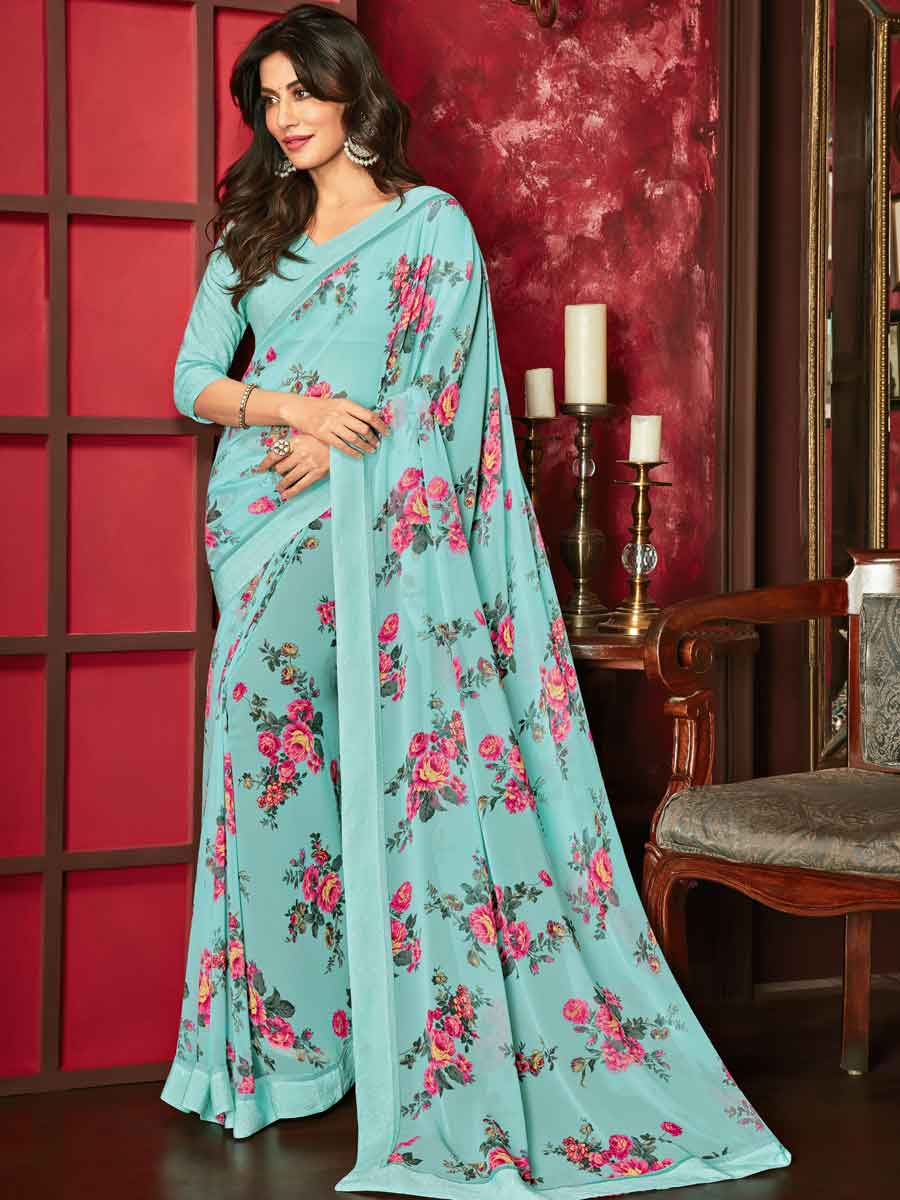 Sky Blue Faux Georgette Printed Casual Saree