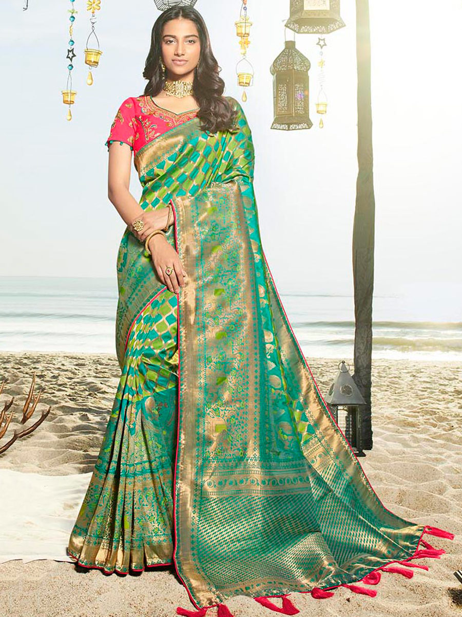 Pine Green and Yellow-Green Art Silk Handwoven Festival Saree