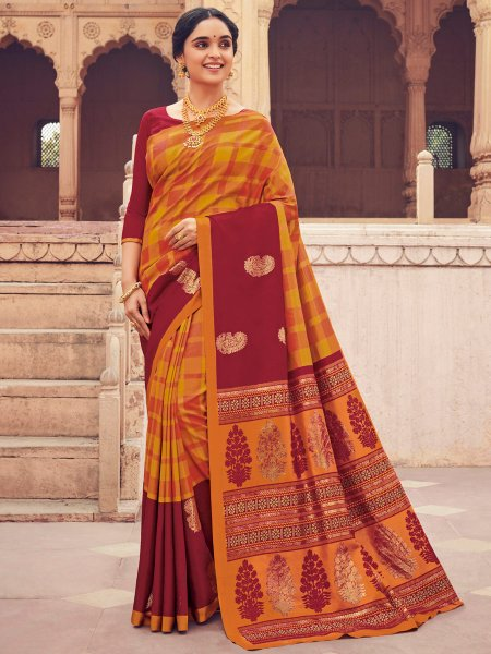 Amber Orange and Maroon Cotton Silk Printed Festival Saree