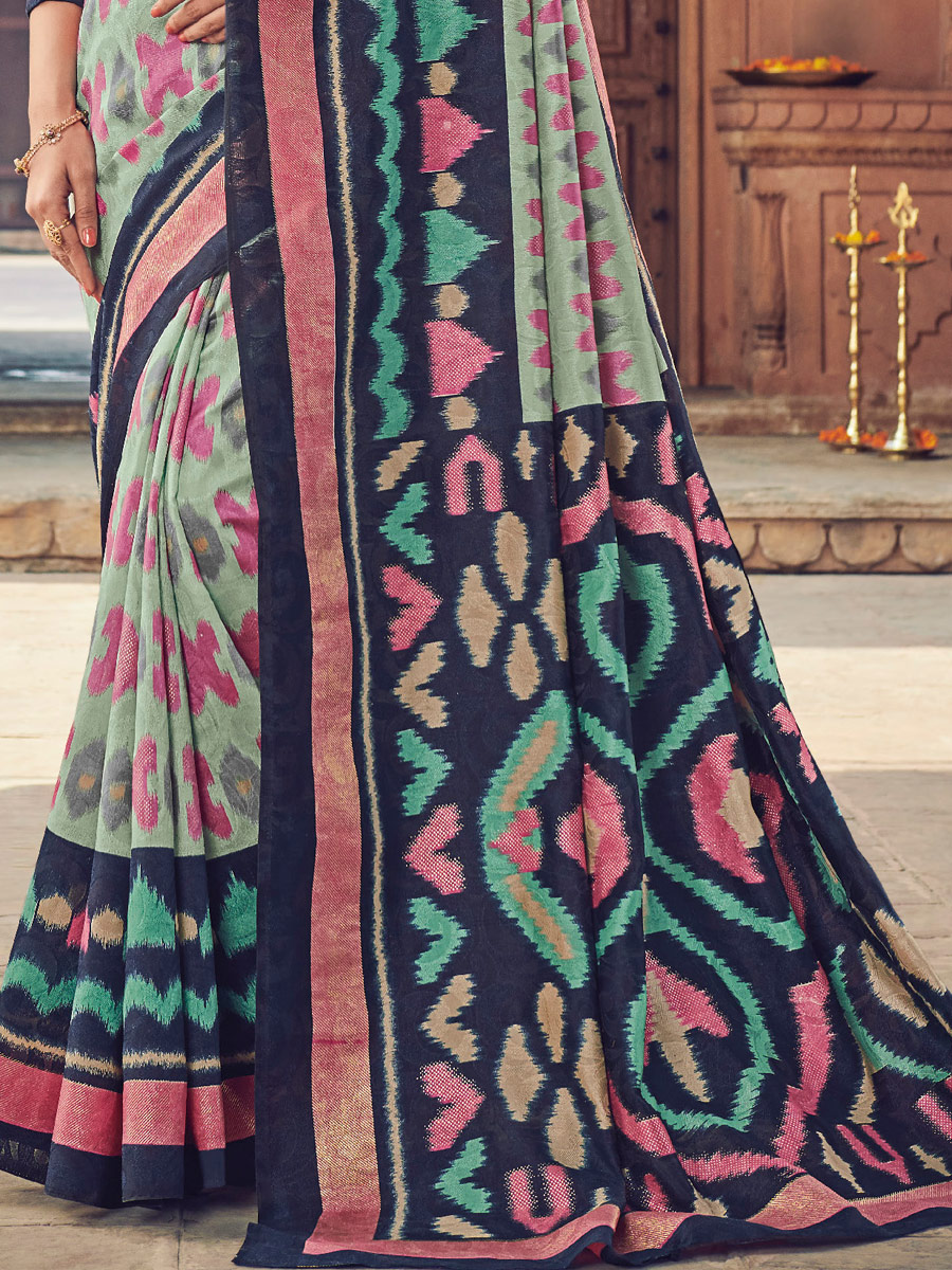 Moss Green and Navy Blue Cotton Silk Printed Festival Saree