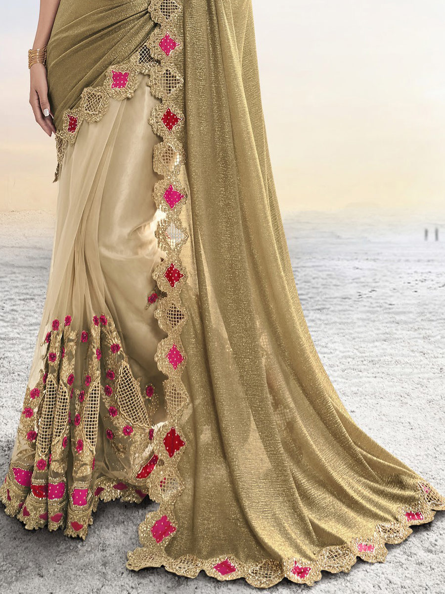 Tan Brown and Beige Yellow Silk Embroidered Festival Saree