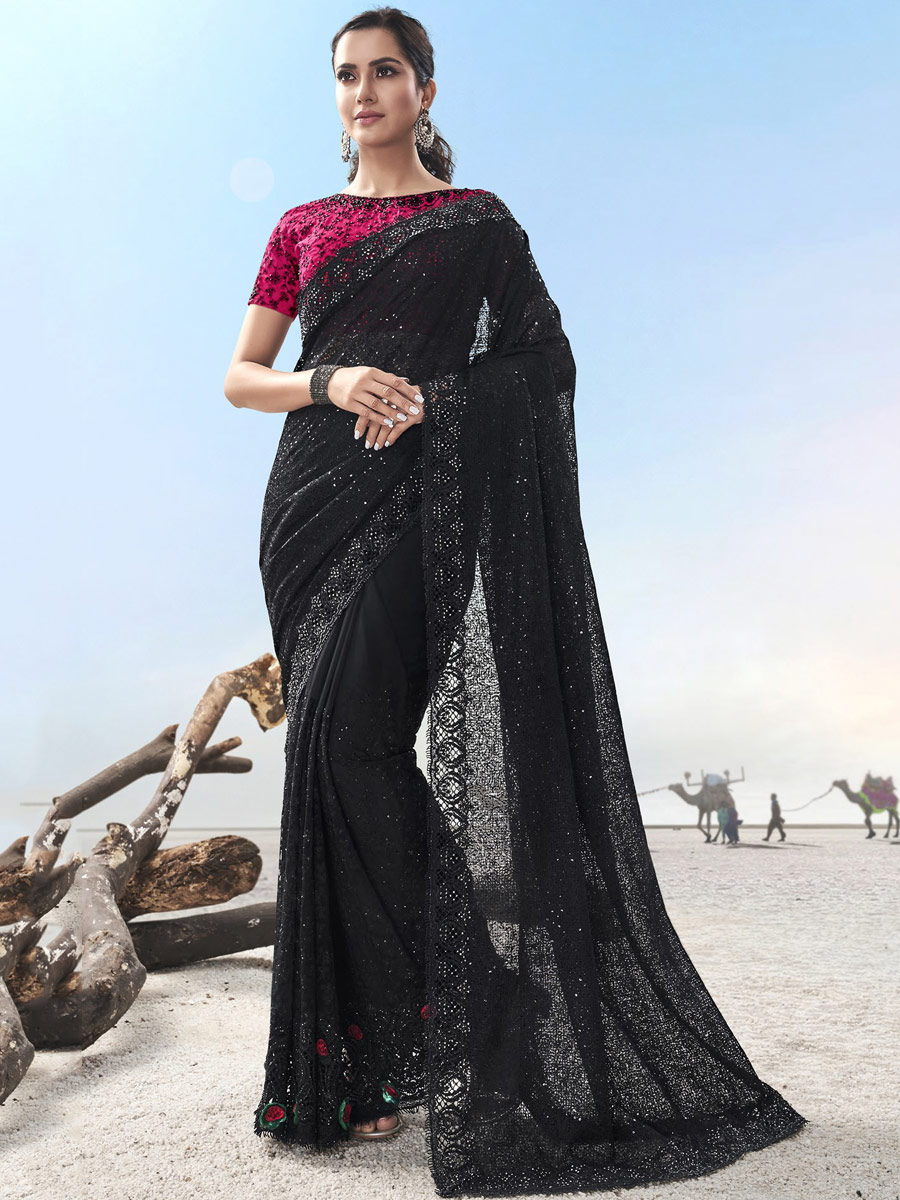 Black Net and Silk Embroidered Festival Saree