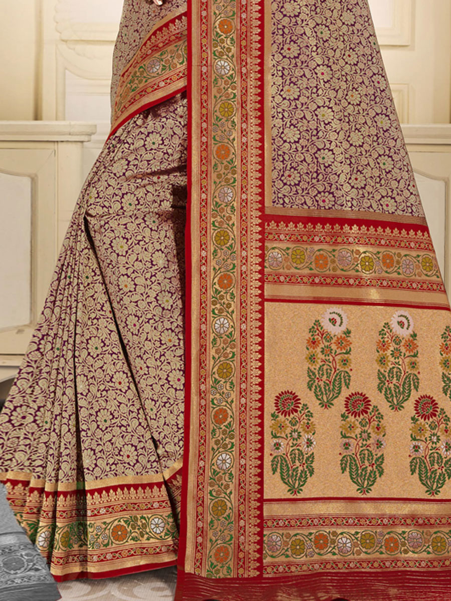 Cream Yellow and Maroon Silk Handwoven Festival Saree