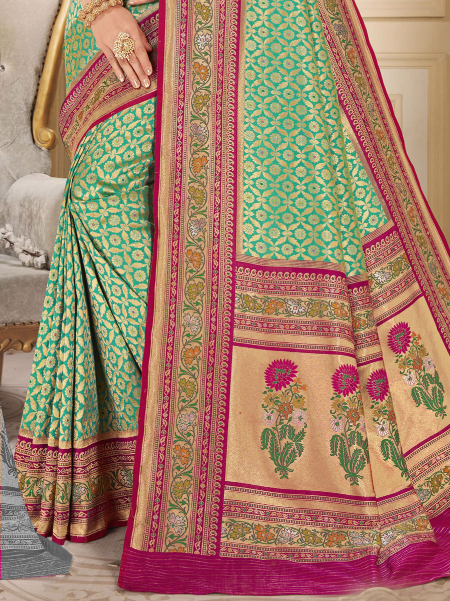 Sea Green and Magenta Pink Silk Handwoven Festival Saree