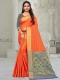 Pumpkin Orange Silk and Jacquard Handwoven Festival Saree
