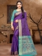Dark Blue Silk and Jacquard Handwoven Festival Saree