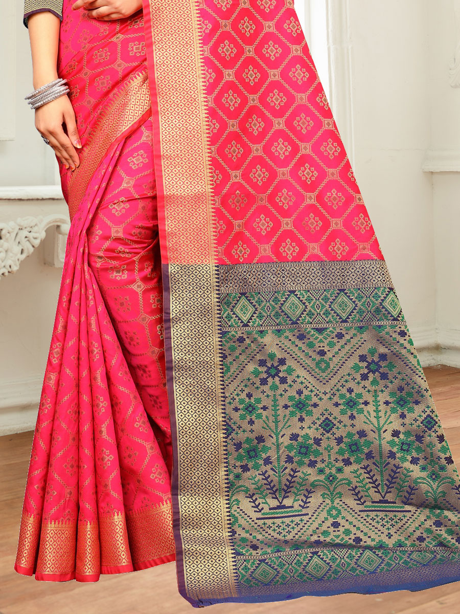 Cerise Pink Silk and Jacquard Handwoven Festival Saree