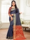 Navy Blue Silk and Jacquard Handwoven Festival Saree