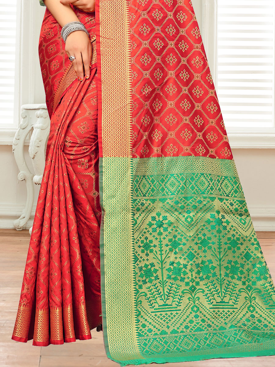Rose Madder Red Silk and Jacquard Handwoven Festival Saree