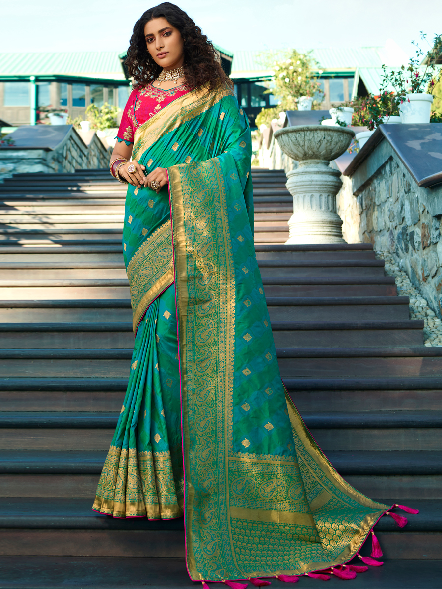 Turquoise Blue and Sea Green Silk Handwoven Festival Saree
