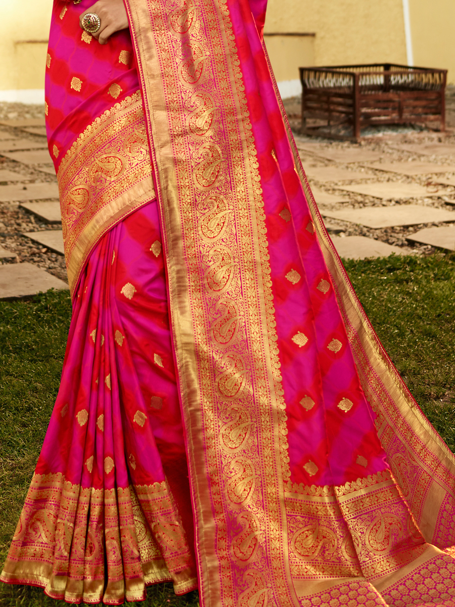 Cerise Pink and Magenta Pink Silk Handwoven Festival Saree