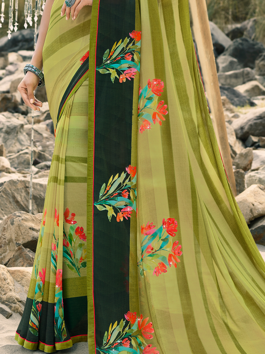 Asparagus Green Faux Georgette Printed Party Saree