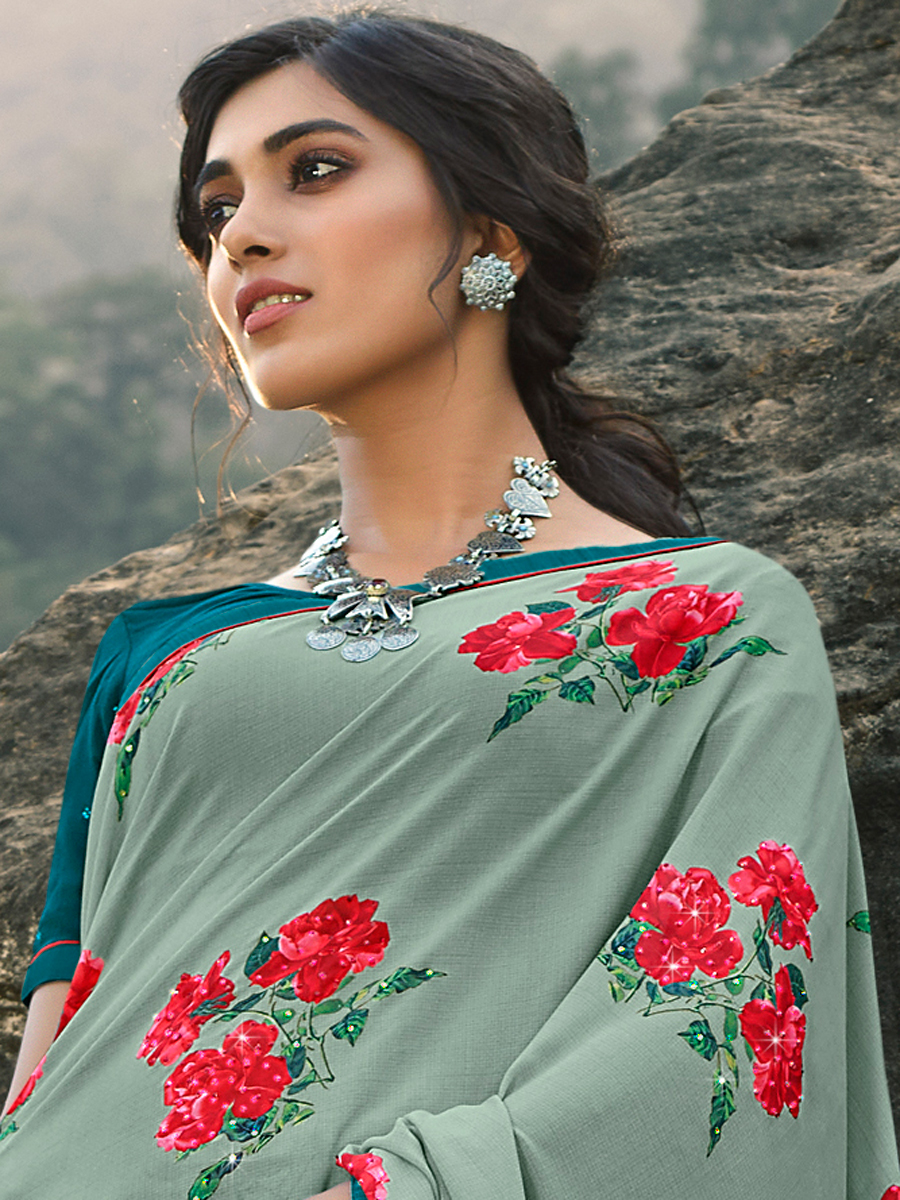 Light Viridian Green Faux Georgette Printed Party Saree