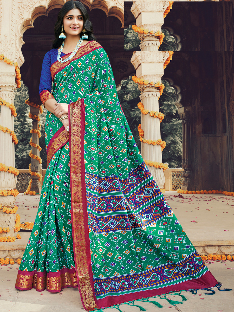 Jungle Green Silk Printed Festival Saree