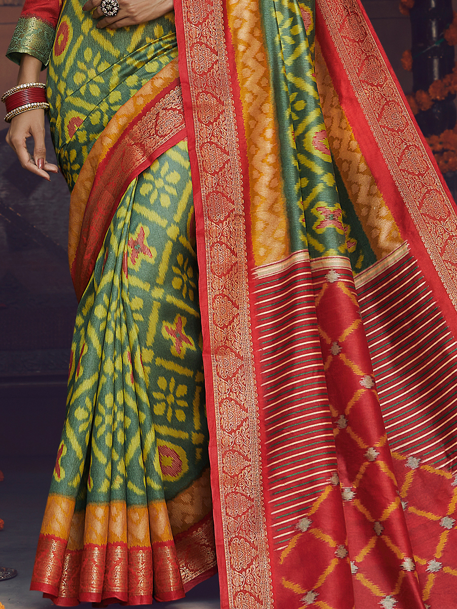 Fern Green Silk Printed Festival Saree